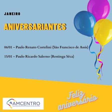 AMCENTRO FELICITA OS PREFEITOS ANIVERSARIANTES DO MÊS DE JANEIRO