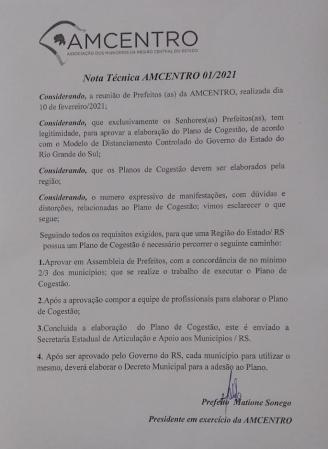 NOTA TÉCNICA AMCENTRO - 01/2021